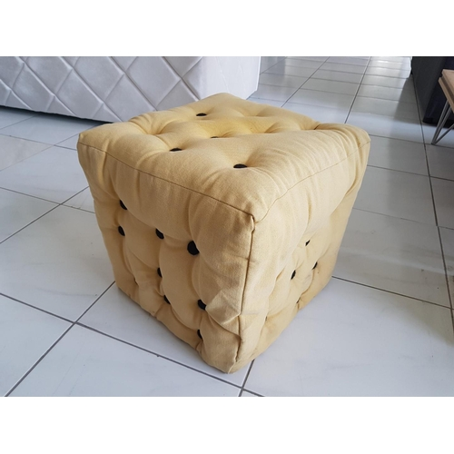 14 - 'Samos' Cream Coloured Buttoned Footstool, (RRP €320) ** Trade sale, VAT is payable on full sale pri...
