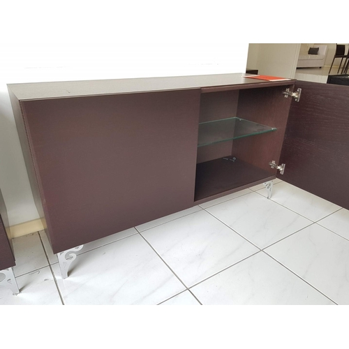 17 - Venge Cupboard Unit on Metal Legs (169 x 52cm) with Matching Glass Shelf Wall Unit (130 x 42cm), (RR...