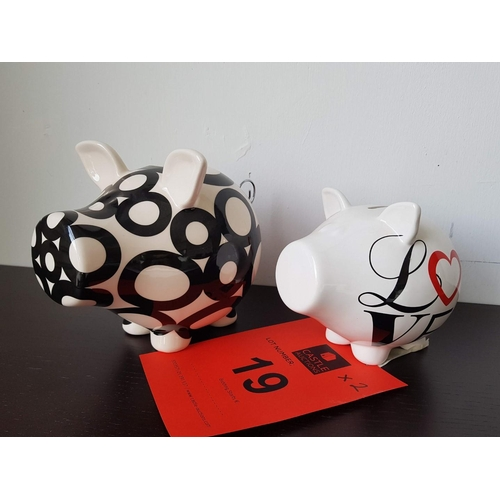 19 - Pair of Modern Piggy Bank Ornaments ** Trade sale, VAT is payable on full sale price **...