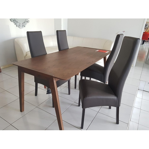 2 - Solid Wood Rectangular Dining Room Table, 170 x 85cm, Together with 4 x Black Leather Padded Dining ...