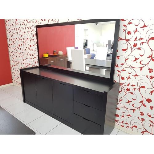 23 - 'Jenifer' Modern Black Sideboard Unit with Matching Top Mirror (200 x 46cm), (RRP €2400) ** Trade sa...