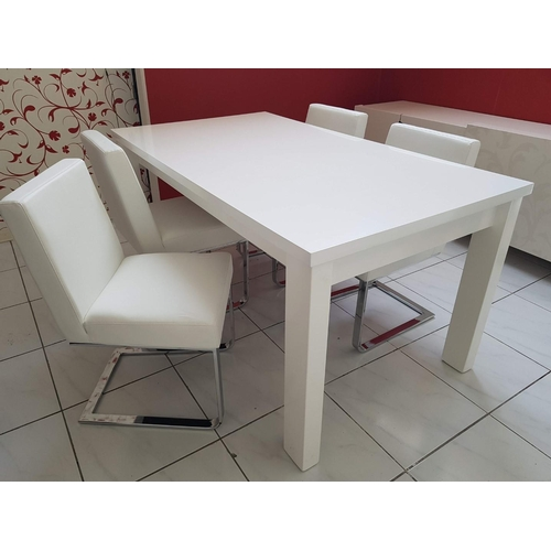24 - 'Freedom' Modern White Dinning Table (160 x 90 cm) with Four 'Flo' White Dinning Chairs, (RRP €1200)...