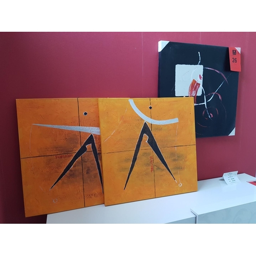 26 - Three Modern Art Wall Paintings ** Trade sale, VAT is payable on full sale price **...