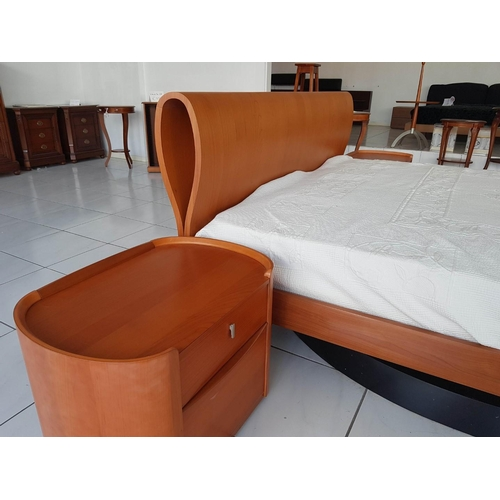3 - Double Bed with Cherry Wood Surround with Curved Headboard, Together with Orphopedic Mattress and Pa...