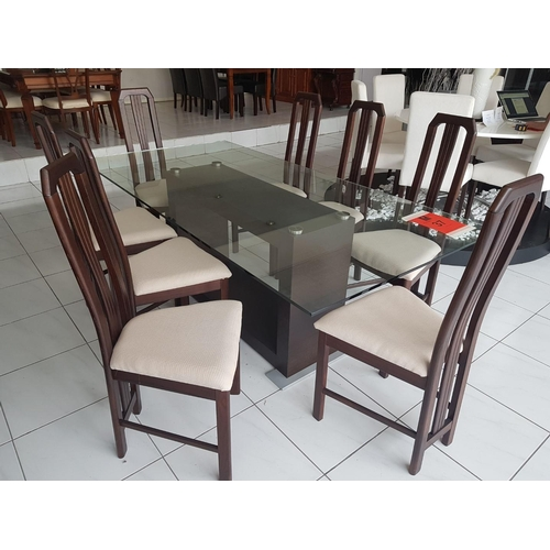 37 - 'Mithos' Modern Dinning Table with Fixed Tempered Glass Top and Dark Brown Base (200 x 100cm) plus E...