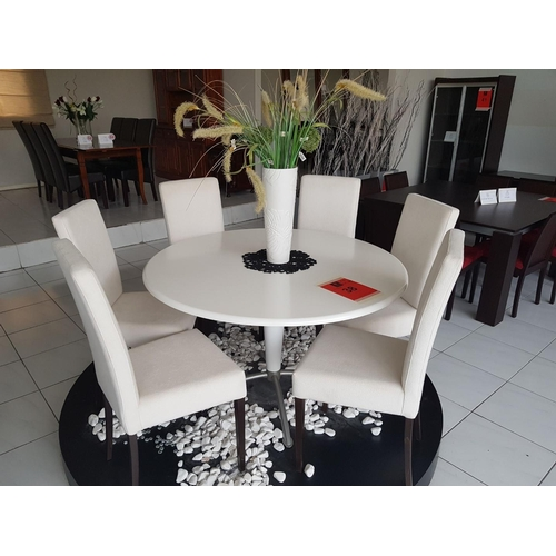 38 - 'Paros' Modern White Round Dinning Tabke (120cm) with Six 'Aria' White Fabric Dinning Chairs plus Or...