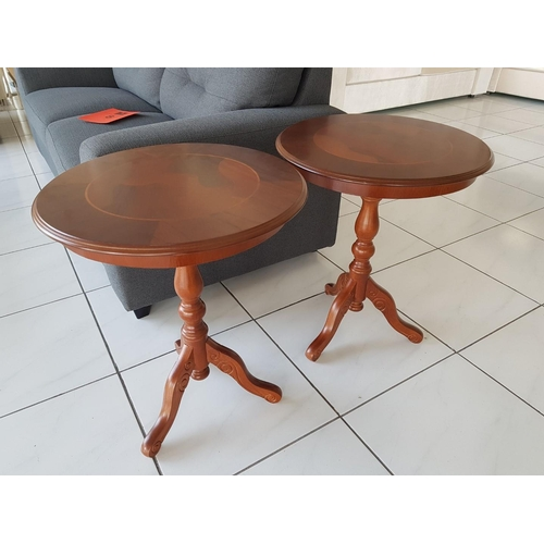 4 - Pair of Modern Dark Wood Side / Occasional Tables, with Carved Wood Tripod Leg, (RRP €900) ** Trade ...