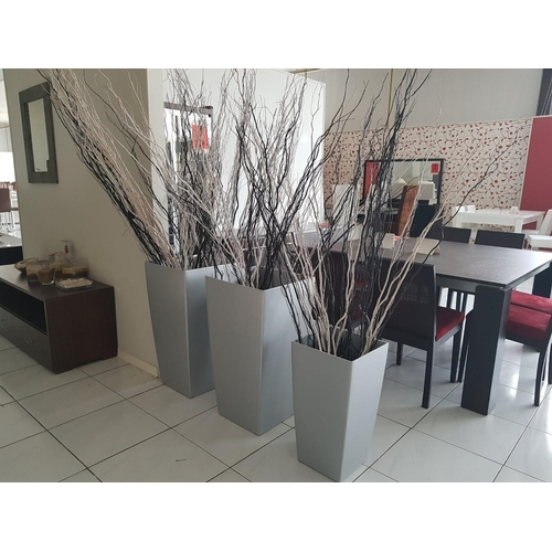 42 - Three Grey Colour Large Plant Pots with Decoration ** Trade sale, VAT is payable on full sale price ...