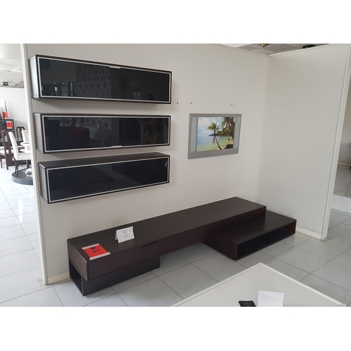 43 - Modern Long TV Unit, Dark Brown, With Three Glass Fronted Wall Cabinets, RRP €2000) ** Trade sale, V...