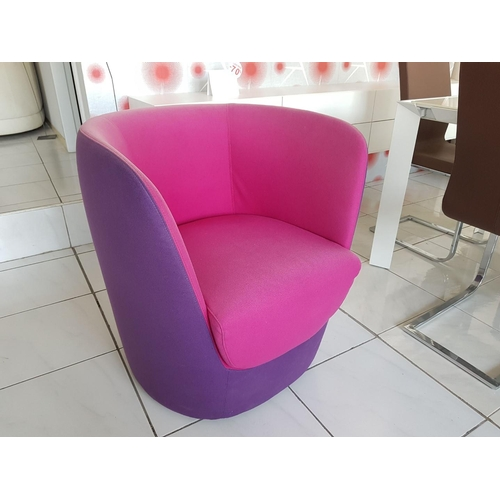 5 - 'Opla' Purple/Mauve Modern Swivel Bucket Seat Armchair (RRP €1600) ** Trade sale, VAT is payable on ...