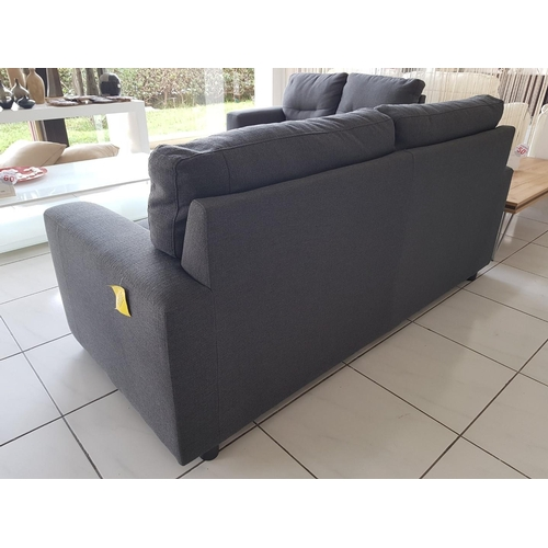 8 - Modern Grey Fabric Three-Seater Sofa and Matching Two-Seater Sofa, (RRP €1,950) ** Trade sale, VAT i...