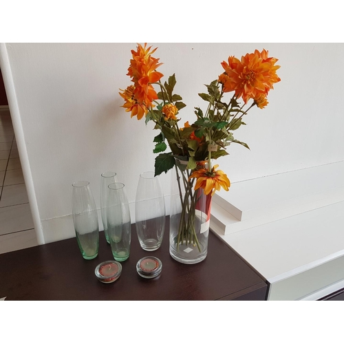 28 - Five Glass Vases and Two Tea Light Holders ** Trade sale, VAT is payable on full sale price **...