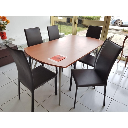 29 - Modern Brown Top Dinning Table (160 x 90cm) with Metal Legs Plus 6 x Dark Brown Dinning Chairs, (Tot...
