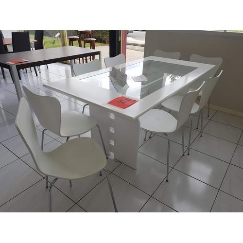 32 - Modern White 'Antonelli' Glass Top Dinning Table (185 x 94 cm) Plus 8 x 'Zina' White and Chrome Dinn...