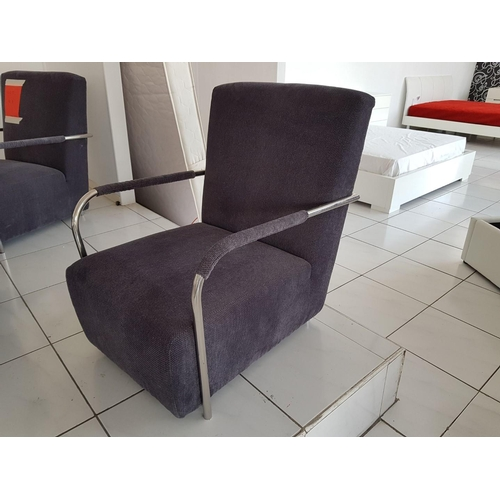6 - 'Elena' Modern Grey Fabric Armchair with Chrome Surround, (RRP €450) ** OPTION for Following 2 Lots ...