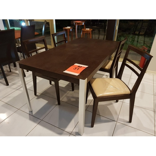 31 - Modern Dark Brown/Venge Dinning Table (160 x 85 cm) with Metal Legs, Together with 4 x Venge Dining ...