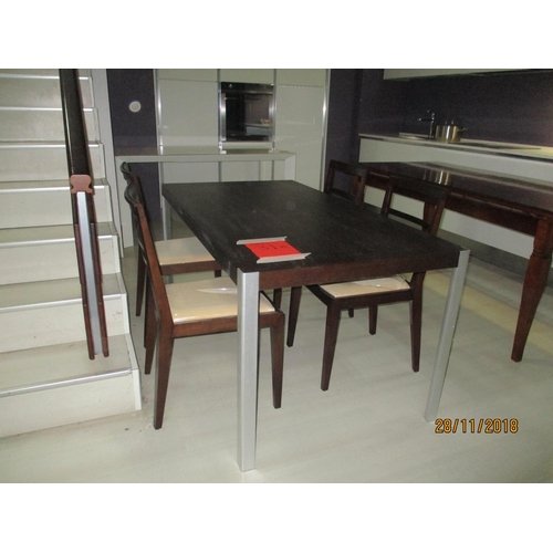 31a - Dark Wood Kitchen Table with Metal Legs and Matching 4 x Chairs with Cream Seat (Approx: 170 x 85 x ...