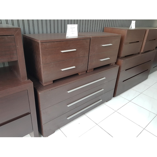 12b - 'Fusion' Venge Modern Three Drawer Chest of Drawers with a Pair of Matching Bedside Cabinets each wi...