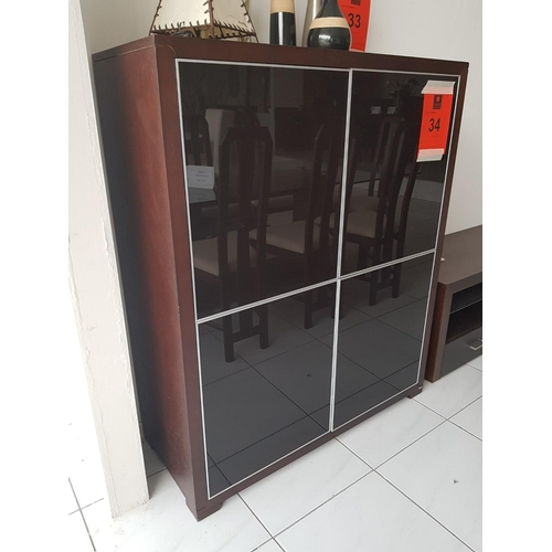 34g - 'Jolly' Dark Brown Four Door Display Cabinet with Eight Shelves (Four Side-by-Side, 108 x 45 x 131 c...