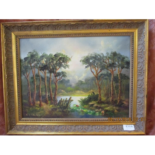 75 - Oil on Canvas Painting of Forest Scene, Signed E.G Walker...