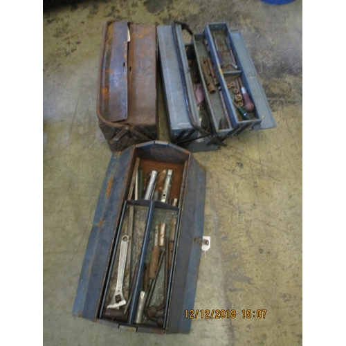 33 - Three Metal Tool Boxes with Tools ** CHARITY AUCTION - NO COMMISSION **...
