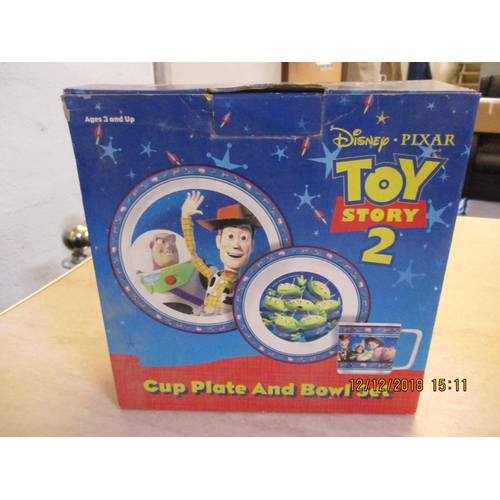 35 - Toy Story 2 Cup, Plate and Bowl Set ** CHARITY AUCTION - NO COMMISSION **...