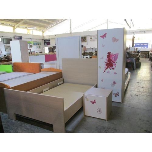 1 - Girls Bedroom Set: Light Wood Bed Frame (No Mattress), Together with Bedside Unit and Cupboard ***NO...