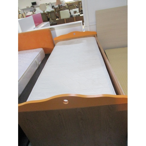 2 - Single Bed with Mattress, Wooden Bed Frame and Orange Design ***NO RESERVE***...