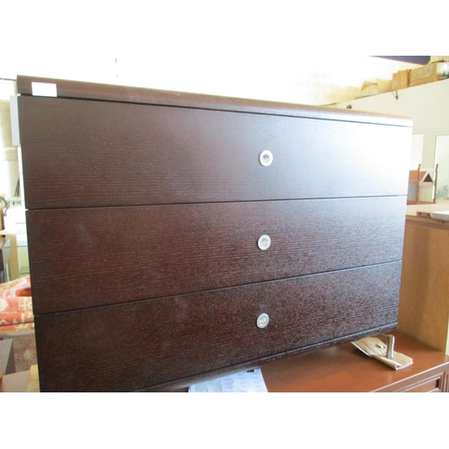 25 - Dark Wood Modern 3 - Drawer Chest of Drawers ***NO RESERVE***...