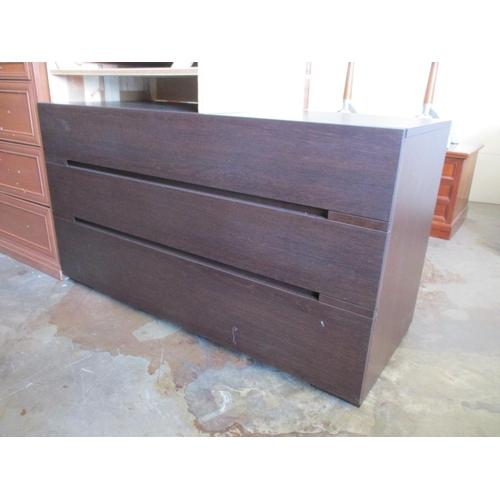 27 - Modern Dark Wood 3 - Drawer Chest of Drawer ***NO RESERVE***...