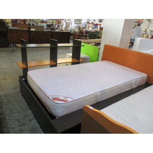 3 - Dark Wood Modern Bed Frame with Mattress, Shelve Space on the Bottom of the Bed Frame and Matching W...