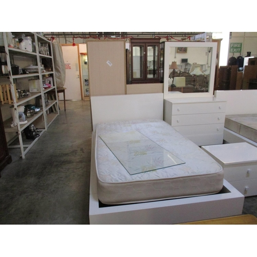 4 - Modern White Bedroom Set Inc: Single Bed Frame with Mattress, Matching Chest of Drawers (Nb. 1 x Mis...