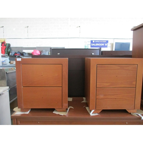 9e - Pair of Light Wood 2-Drawer Bedside Units (2), (RRP €500.00) [C] Nb. Missing Handles ***NO RESERVE**...