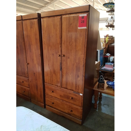 28 - 2-Door Wardrobe over 2-Drawers ***NO RESERVE*** OPTION on Following 3 Lots (Boxed and Requiring Asse...