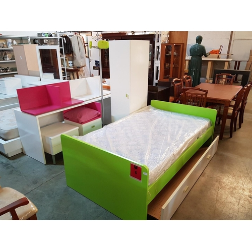 6 - Lime Green and White Bedroom Set inc: Bed with Mattress, Pull out Drawer missing the Base etc ***NO ...