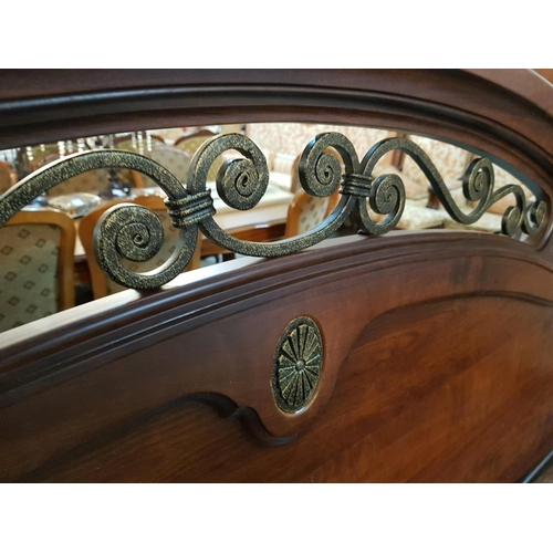 7 - Impressive Classical Dark Wood Double Bed Frame with Decorative Metal Work in the Headboard. (Nb. No...