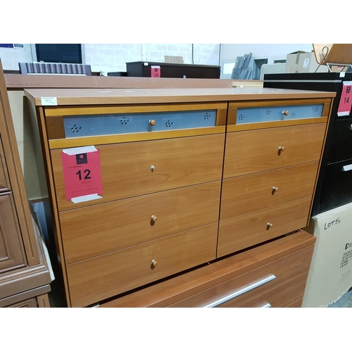 12 - Light Wood with Panel Design 8 - Drawer Chest of Drawers ***NO RESERVE***...