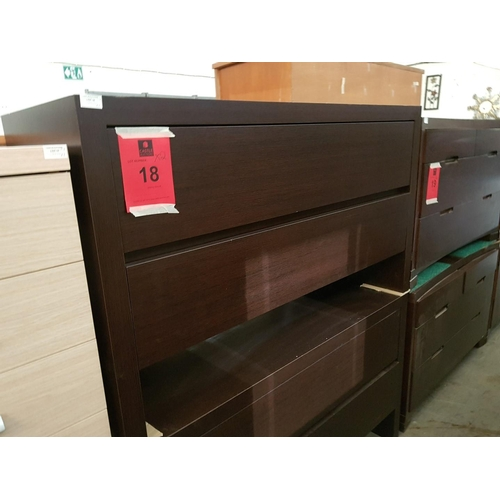 18 - Pair of Matching Modern Dark Wood 2 - Drawer Chest of Drawers ***NO RESERVE***...