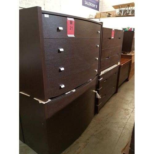 21 - Modern Italian Dark Wood Bow Fronted 4-Drawer, Chest of Drawers, (RRP €695) ***NO RESERVE*** OPTION ...