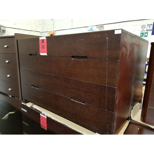 22a - Modern Italian Dark Wood 4-Drawer, Chest of Drawers, (RRP €695) ***NO RESERVE***...