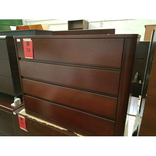 29 - Dark Woode Modern 4 - Drawer Chest of Drawers ***NO RESERVE***...