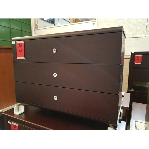 41 - Dark Wood Modern 3 - Drawer Chest of Drawers ***NO RESERVE***...