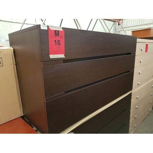 16a - Modern Italian Dark Wood 3-Drawer Chest of Drawers, (RRP €695) ***NO RESERVE***...