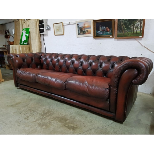 Large Oxblood Red Leather Chesterfield Sofa 270cm X 98cm Deep X