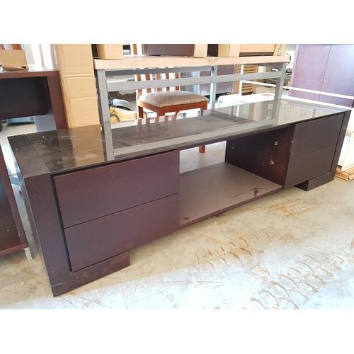 24 - Large Modern Glass Top TV / Lounge Unit ***NO RESERVE***...