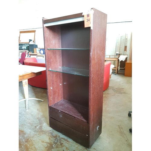 34 - Venge Unit with Glass Shelves Over 2 Drawers ***NO RESERVE***...
