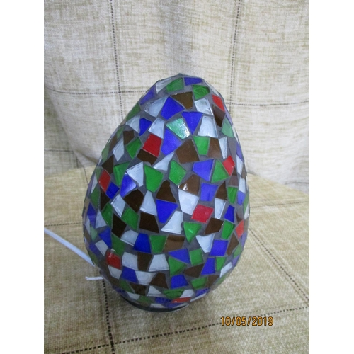 24 - Multi - Coloured Mosaic Glass ''Egg'' Shape Lamp (20cm)...