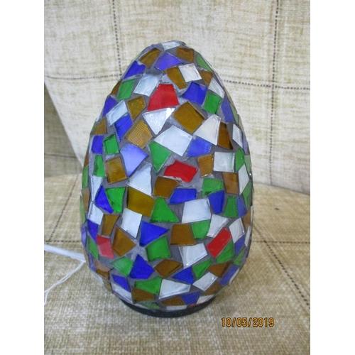 25 - Multi - Coloured Mosaic Glass ''Egg'' Shape Lamp (16cm)...