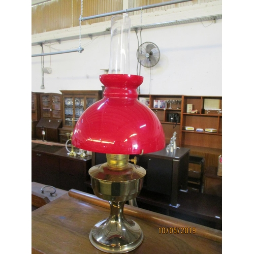 34 - Vintage Oil Lamp with Glass Funnel and Red Glass Shade...