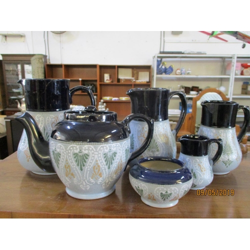 35 - Langleyware Art Pottery Set of 3 x jars (a/F0 and Tea Pot & Sugar Bowl and Little Milk Jar...